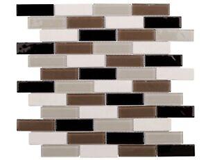 Classic Linear Black Brown White Glass Stone Mosaic Tile Backsplash MTO0251