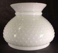 """7"""" Milk Glass White Hobnail Student Kerosene Oil Electric Table Lamp Shade #614"""