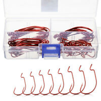 60pcs Wide Gap Worm Hook Jig Fishing Crank Hooks for Soft Bait Lure Red