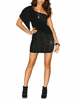 ITALY Party Stretch Cocktail Kleid Dress Mini Glitzer SEXY schwarz 36 38 40 S M