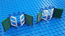 LEGO 2X COMBO Blue 1X4X3 WINDOW (3853) Green SHUTTERS (3856) White PANES (3854)