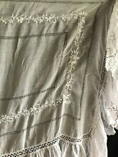 2 Antique Appenzell needle lace embroidery pillow sham covers & Full Bedspread