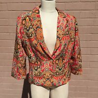 Lucy & Co Jacket Womens Sz Large EUR 42 Pink Orange Teal Navy Batik Mandala NWT
