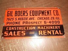 Vintage Gil Boers Construction Equipment Company Porcelain Sign 16 X 9 inches