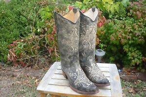 Women's NEW 10 M Circle G Black & Bone Defect Cowboy Fashion Boots L 5048