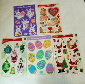 Lot of 5 Holiday Window Clings Decals Christmas Easter Valentines Early 2000's