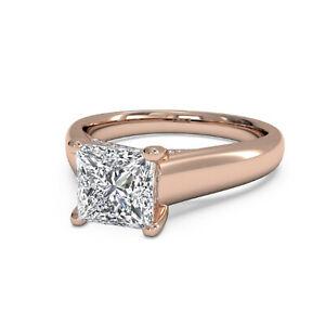 1.12 Ct Princess Moissanite Anniversary Ring 14K Wedding Solid Rose Gold Size 7
