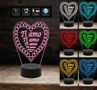 Luce da notte camera Lampada led 7 colori cuore San Valentino Idea regalo comple