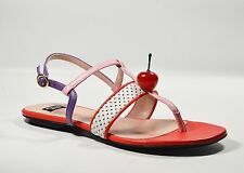 MOSCHINO Boutique Moschino Women's Mia Cherry Flat Sandal Leather US 7.5 (37.5)