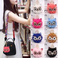 1PC Owl Faux Fur Pompom Ball Keychain Fluffy Bag Pendant Car Decors Cute Gift
