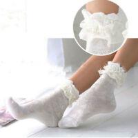 Sweet Retro Woman Ruffle Frilly Cotton Bowknot Lace Soft Princess Ankle Socks