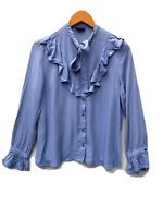 TOPSHOP Blue Ruffle Bib Blouse Neck Tie Shirt Size 12