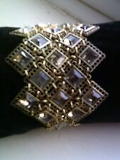 Chain Mail Style Gold Colour & Green Stones Bracelet by Next Costume Jewellery