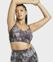 All in Motion Women's Printed Low Support Strappy Long Line Bra Black XXL NWT