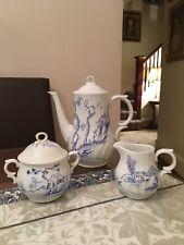 Blue & White Coffee Tea Pot Sugar Bowl Milk Jug James Skerrett Royal Worcester