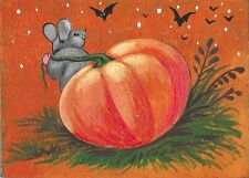 ACEO PRINT OF PAINTING RYTA HALLOWEEN SCENE PUMPKIN MOUSE MICE JOL PATCH AUTUMN