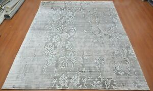9'x12' Rug Modern Luxury Hand Knotted Bamboo Silk Blue Area Rug