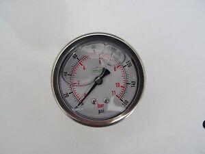 """0-160 psi 63 mm Glycerine Filled Pressure Gauge 1/4"""" Back Entry"""