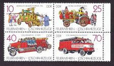 Germany DDR 2616a MNH 1987 Various Early Fire Engines Block of 4 VF