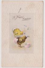Vintage Embossed Postcard Happy Easter 2 chicks / eggs USA