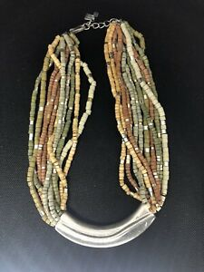 Gorgeous Robert Lee Morris Silver Beaded Earth Tone Statement Summer Necklace
