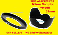 ADAPTER RING + FLOWER LENS HOOD => CAMERA NIKON COOLPIX P610 P600 B700 62mm