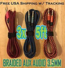 3x LOT 3.5mm 5ft BRAIDED 1.5M AUXILIARY CORD Male to Male Audio Cable AUX MIX