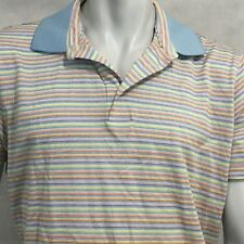 Hickey Freeman Polo Sz Large Striped Blue Yellow Pink Rugby Golf Multicolor