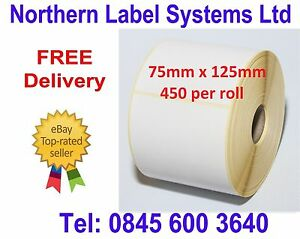 75mm x 125mm WHITE Direct Thermal Labels, fits BROTHER TD-4000 / TD-4100N