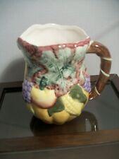 "New listing Vintage Ceramic Pitcher by Bloom-Rite One Quart Farm Bounty 7"" Tall"
