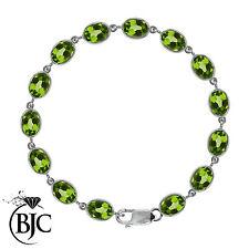 Peridot Tennis Not Enhanced Sterling Silver Fine Bracelets