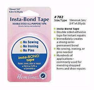 Hemline Insta-Bond Double Sided Tape For Fabric Hems Clothing Repairs H782