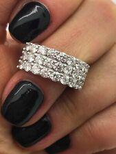 PLATINUM 2.20CT DIAMONDS 3 ROWS HALF ETERNITY DRESS RING GOY668