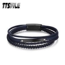 TTstyle Blue/Black Multi Stripe Leather S.Steel Black ID Bracelet Wristband NEW