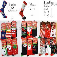 6X Ladies Girls Kids Christmas Socks Cotton Blend Xmas Fashion Funny Socks 4-7