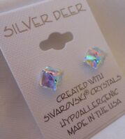 Tilted Cube HYPOALLERGENIC Stud Earrings Swarovski Elements Crystal in AB
