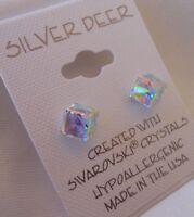 Tilted Cube HYPOALLERGENIC Stud Earrings Swarovski Elements Crystal in AB