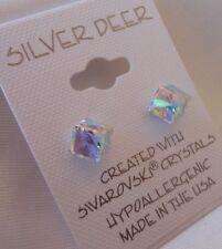 Crystallite Destine Earring AB Tilted Cube 6mm