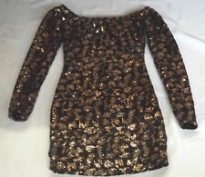 BNWT MOTEL TOPSHOP XS BLACK TINSEL GOLD SEQUIN COCKTAIL PARTY BODYCON MINI DRESS