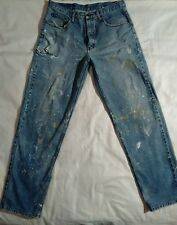 Blue jean painted ripped pants