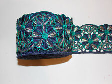 NAVY TEAL & GOLD  embroidery trimming costume ribbon festival boho applique
