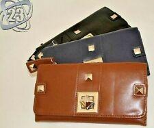 New Designer Large Big Womans Ladies Wallet Eco Leather Black Navy Blue Brown