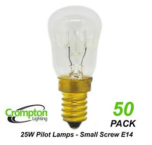 50 x 25W Clear Pilot Light Globes Bulbs Lamps E14 Small Screw SES Crompton 10184