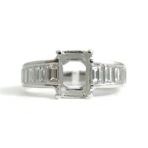Channel Baguette Diamond Platinum Engagement Ring Setting Mounting, 1.08 CTW