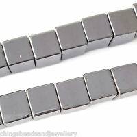 16 Inch Gemstone Hematite 8mm Cube Beads