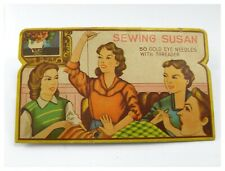 Vintage early 20th century set of needles Sewing Susan 50 gold eye