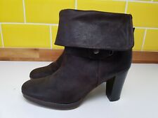 Clarks Brown Nubuck Leather Block Heel Ankle Boots UK 6 EU 39 Winter Autumn