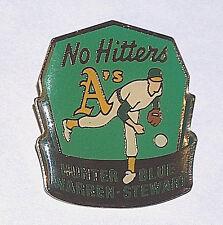 1992 OAKLAND A'S WARREN HUNTER BLUE STEWART #4 NO HITTERS BASEBALL HAT LAPEL PIN