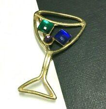 Vintage Martini Cocktail Glass Brooch Rhinestone Green Blue Purple Gold TT32e