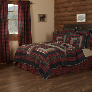 VHC Brands Rustic California King Quilt Red Patchwork Cumberland Bedroom Decor